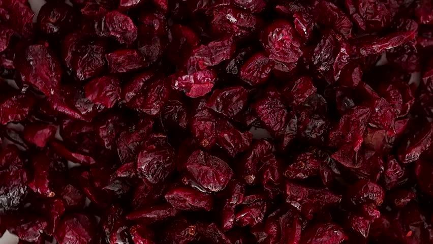 Closeup on rotating dry cranberry