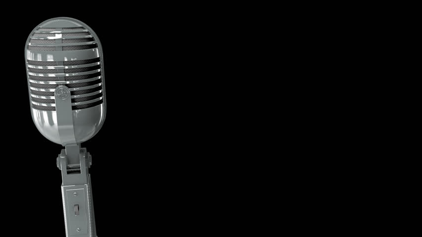 Classic Microphone On A Stand With Clipping Path Isolated ... Vintage Microphone Black And White