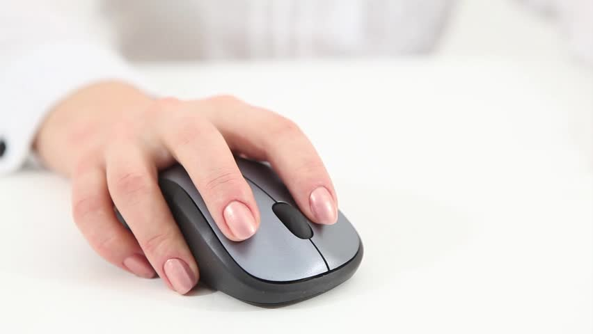 Woman click on wireless mouse #3666854