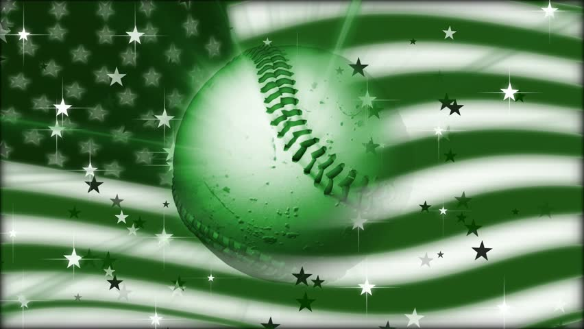 Spinning Baseball with American Flag
