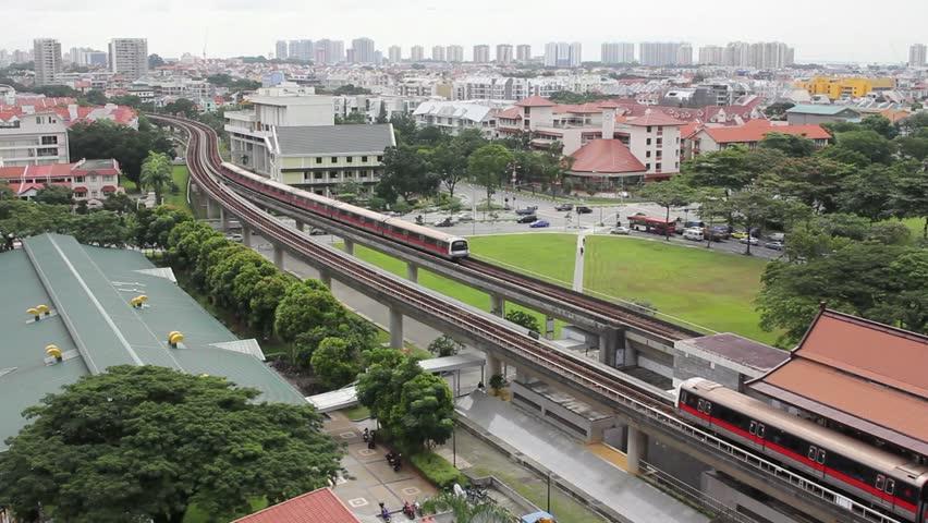 Singapore Mass Rapid Transit MRT Subway Trains Moving on Tracks in Eunos District Suburb 1920x1080