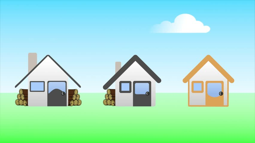 Animated Green Buildings : Illustration of house flat animation for icon with