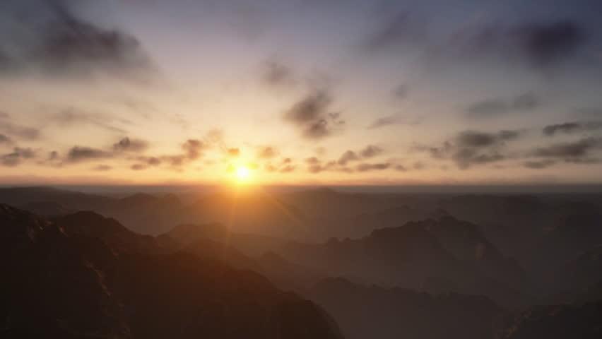 Flight over Mountains Peaks, Sunset Time Lapse