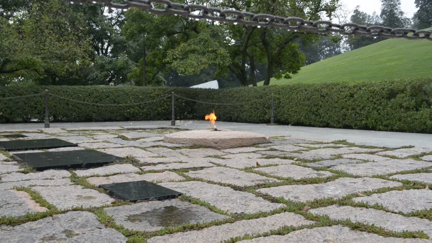 John F. Kennedy JFK Eternal Flame in Washington DC on a Rainy Day