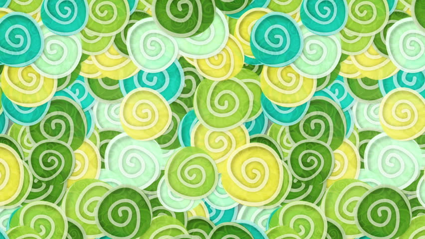 yellow green cyan curles ornatment loop background