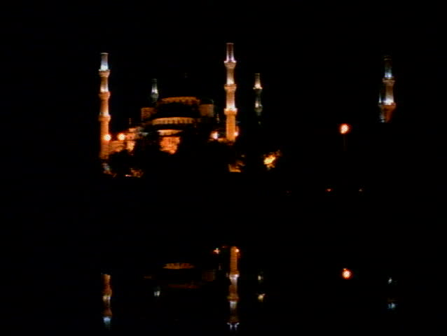 The Blue Mosque of Istanbul at night with six minarets