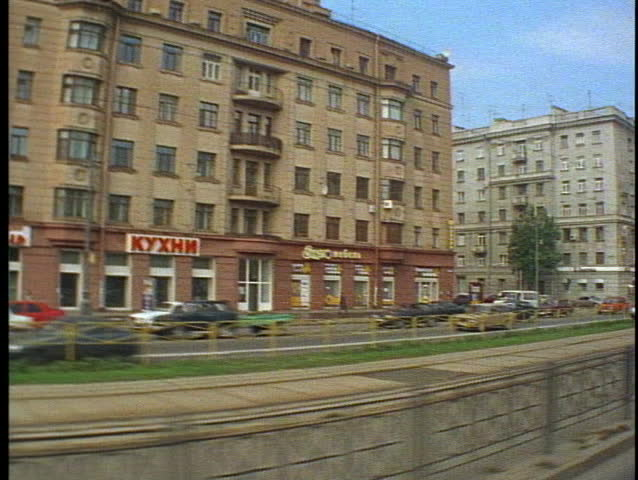 St. Petersburg, Russia, POV tram, buildings traffic pass