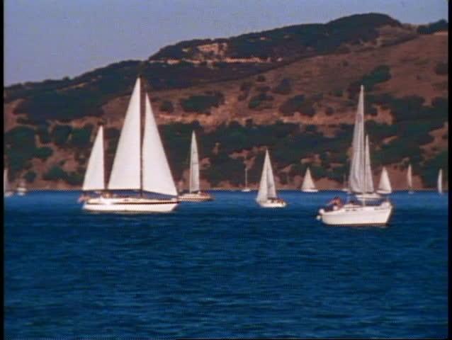San Francisco Bay, 1970's, Sailboats on San Francisco Bay