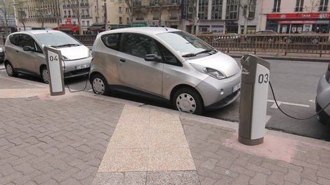 PARIS, FRANCE – APRIL 9th: Electric car on April 9th, 2012.  In December 2011 the Autolib car rental company introduced a fleet of electric rental cars to the streets of Paris.