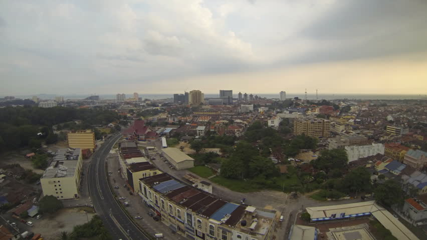 MALACCA - MARCH 23: Panning timelapse with zoom of the city of  Malacca in Malaysia with the  observation tower and Malacca strait on the background in Malacca Malaysia 23th March 2013