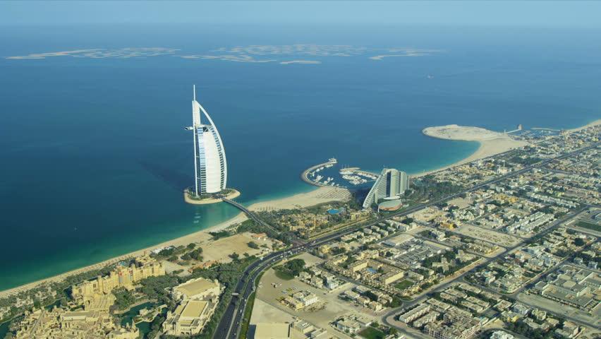 DUBAI, UNITED ARAB EMIRATES - November 18, 2012: Aerial view Dubai coastline,