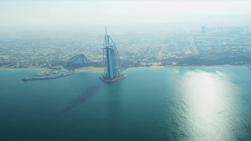 DUBAI, UNITED ARAB EMIRATES - NOVEMBER 18, 2012: Aerial view Burj Al Arab