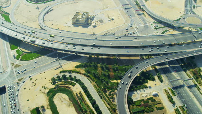 Aerial view of contemporary dual carriageway road Interchange system, Dubai, UAE, RED EPIC | Shutterstock HD Video #3731573