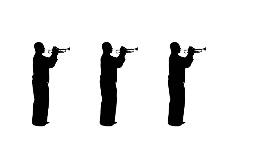 Three silhouettes march on the spot as they play trumpet in a studio. Black and white silhouettes, full-length shot.
