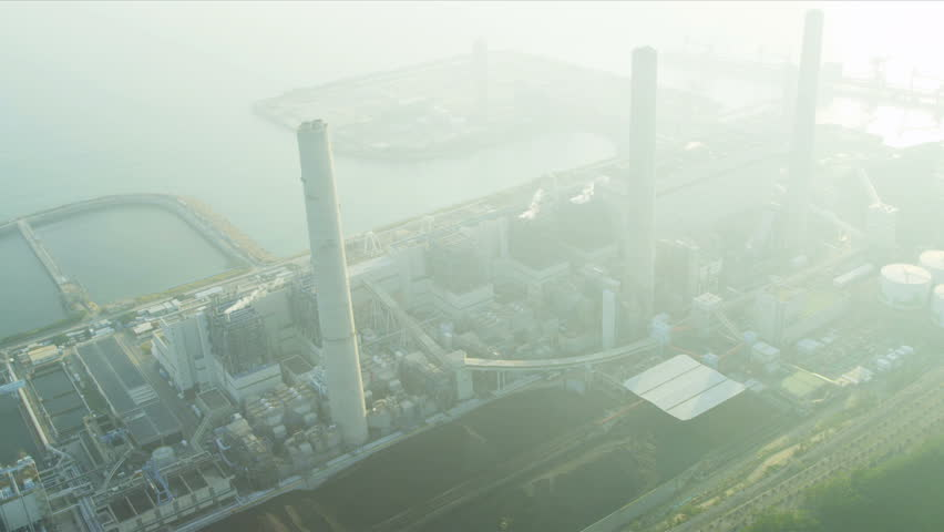 Aerial view Lamma Power Station, Lamma Island chimneys, Hong Kong, China, Asia, RED EPIC | Shutterstock HD Video #3737393