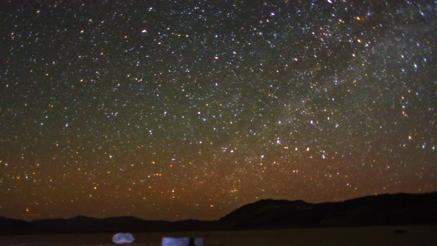 Starscape Galaxy Timelapse over Sliding Stones of Death Valley at Racetrack Playa.