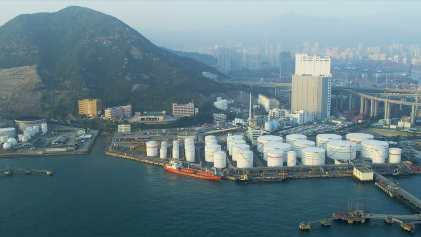 Aerial view of Oil storage Terminal Hong Kong, Victoria Harbour, China, Asia, RED EPIC
