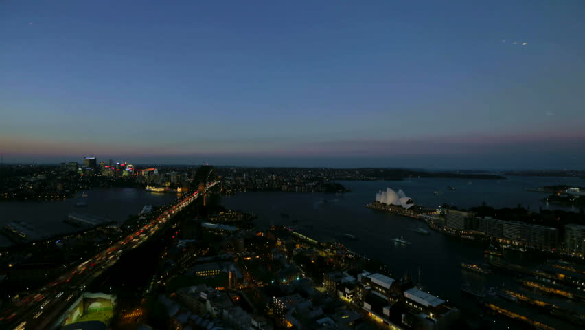 Timelapse of Sydney sunset over harbour as stars come out