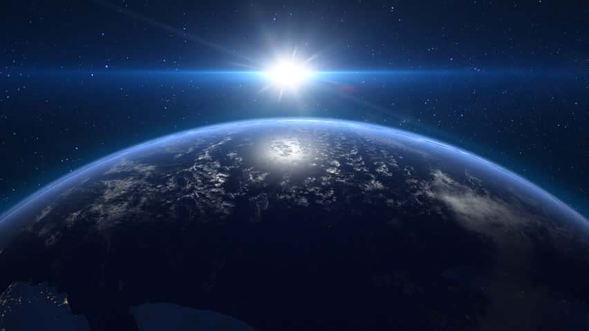 Sunrise over the planet earth