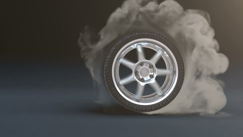 Tire Burnout. Smoke on dark background.