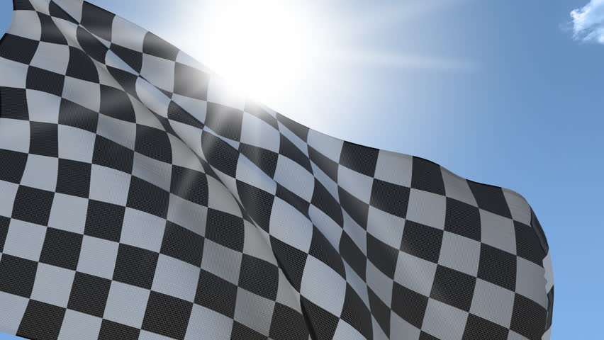 Checkered flag Waving on the Wind with the sun behind. Seamless Loop.