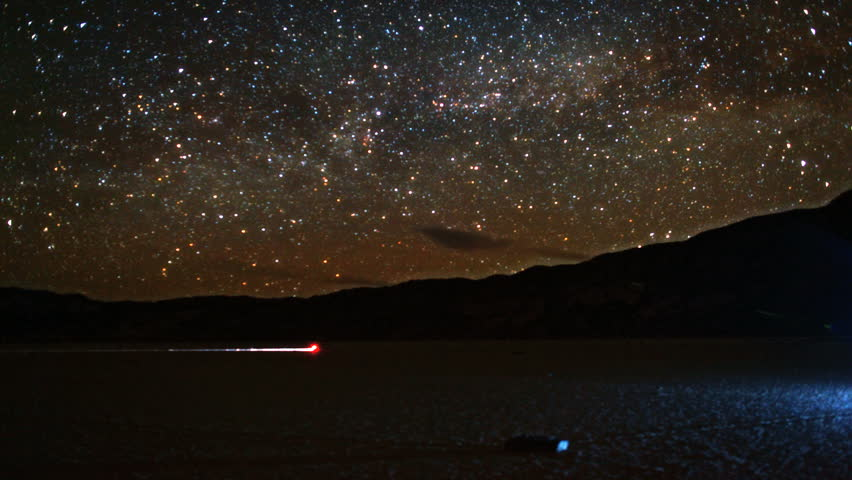 Amazing Milky Way rises in timelapse night sky over Racetrack Playa in Death Valley