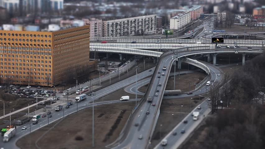Aerial view of highway junction in St. Petersburg, Time Lapse shot with tilt shift effect