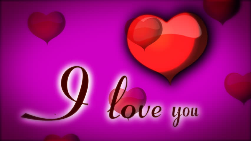 red animated hearts on purple background and inscription i love you hd stock video clip - Valentines Day Videos