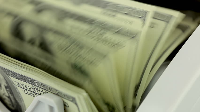 Cash money counting machine. Banknote counter are counting hundred dollar bills. Close-up | Shutterstock HD Video #3802880