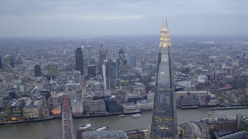 Dramatic aerial shot of the central London skyline featuring The Shard building, River Thames & City of London financial district. #3818060