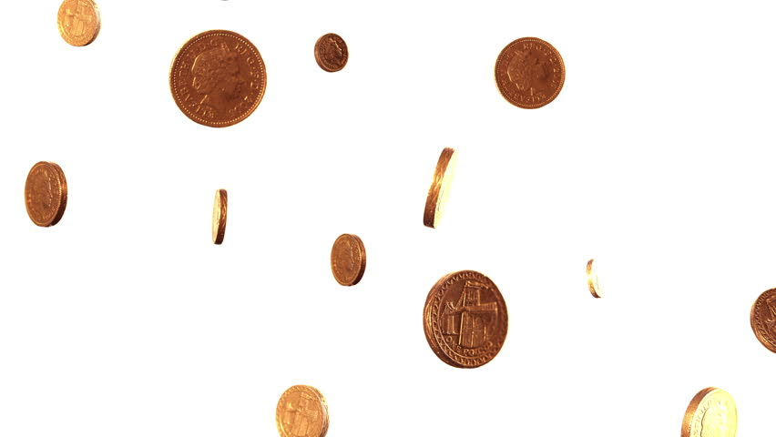 Rotating pound coins raining down against a white background.
