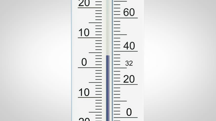 Thermometer heating up on white background with alpha included.