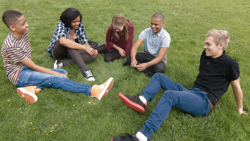 Teenager chatting