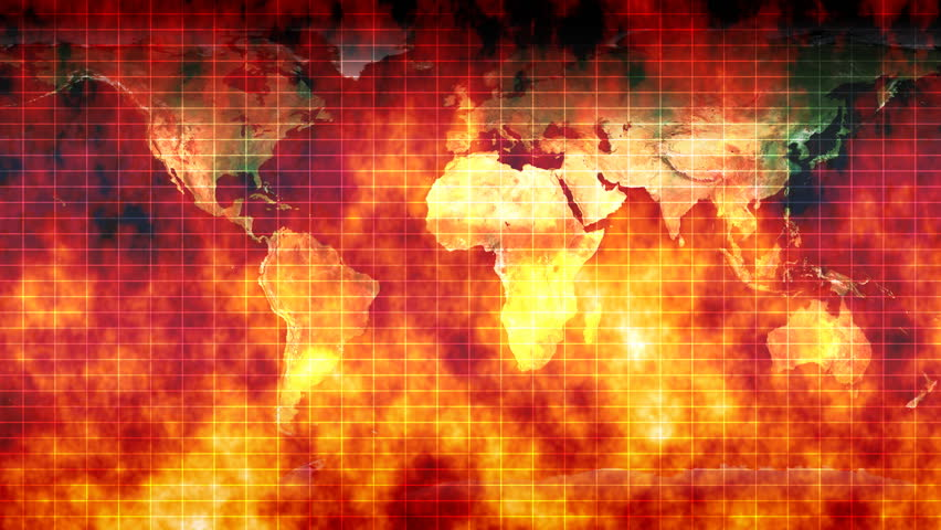 World on Fire - War, Crisis and Conflict. The world is on fire, at war and in crisis. Global warming and conflict are represented with this burning map of the world. Loops round seamlessly.