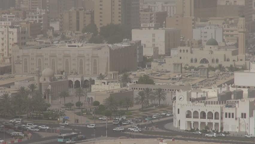 DOHA, QATAR - MAY 20, 2012, Aerial view of Doha city in foggy day #3865943
