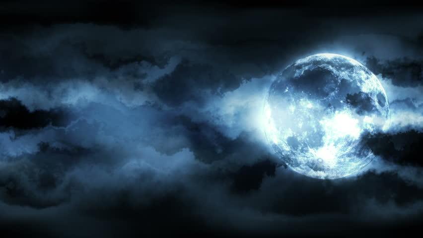 Animated Seaside Midnight Moon Scenery Dark Stock Footage