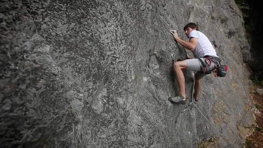 Man rock climbing in nature #3888293
