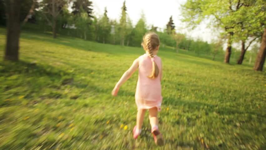 Little girl running away