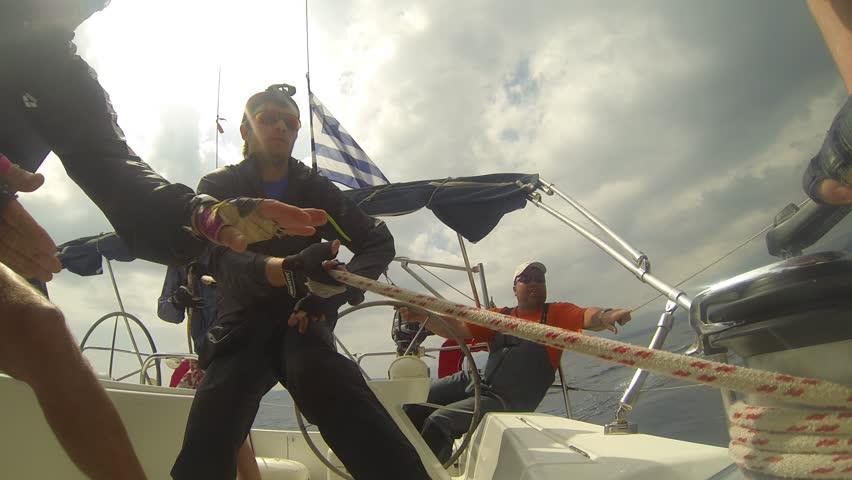 HYDRA, GREECE- MAY 7: Unidentified sailors participates in 9th spring sailing regatta Ellada 2013, May 7, 2013 in Hydra, Greece.