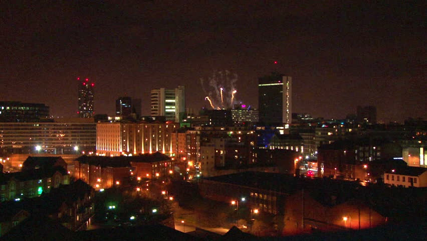A new year fireworks display over a large city centre. | Shutterstock HD Video #3900563