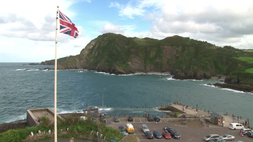 The Union Jack flag of Britain flying on the Devon coast at Ilfracombe.