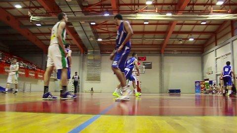 RIJEKA, CROATIA - MAY 9: Basketball match Skrljevo (white) vs. Hermes Analitica (blue) on May 9, 2012 in Rijeka