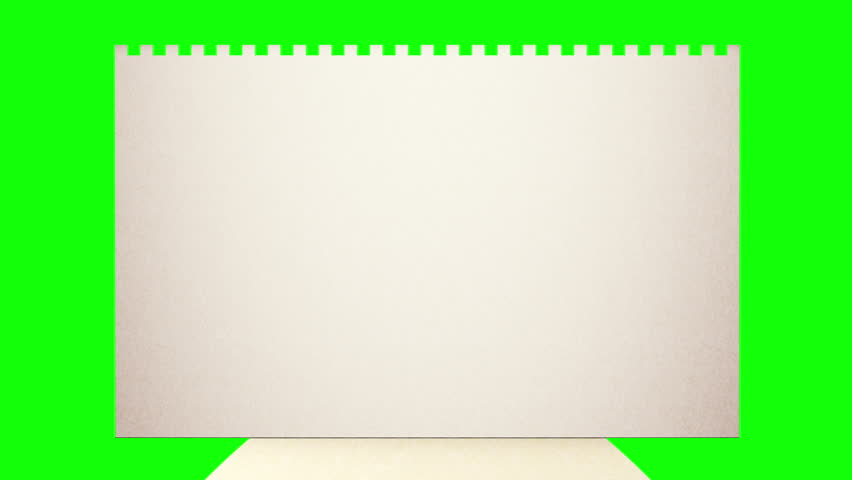 Envelope with mail. Alpha matte for paper added. Green screen for use with custom background