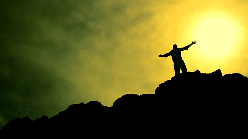 Climber Reaching Top of a Mountain Raising Hands Success Colorful Background HD