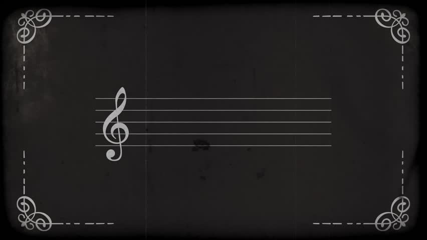 Old Silent Film Style Text Frame with music notes. Film projector flickering background. HD.