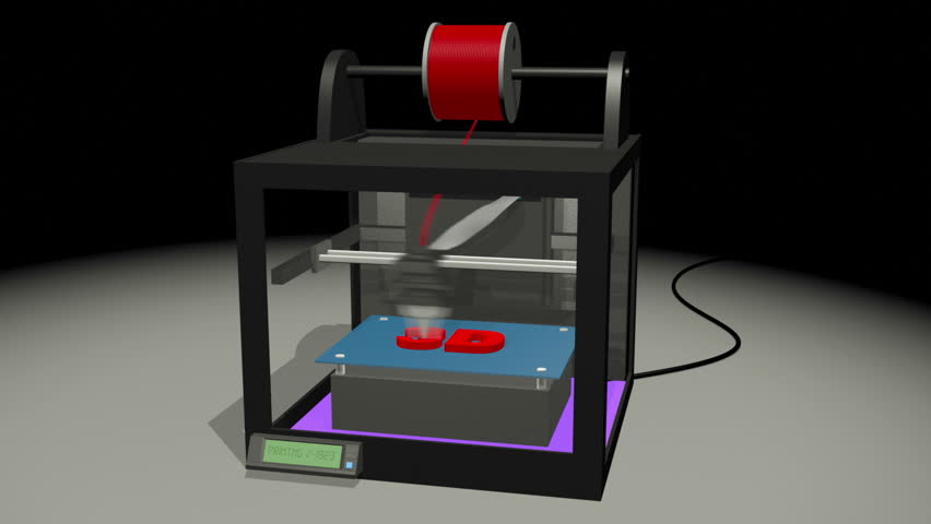 3D Printer printing 3D Text characters animation.