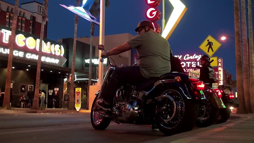 LAS VEGAS, - APRIL 11: Group Motorcycle departs from Fremont Street. April 11, 2013 in Las Vegas, Nevada, USA.