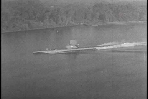 1940s - A submarine torpedo attack in World War Two.