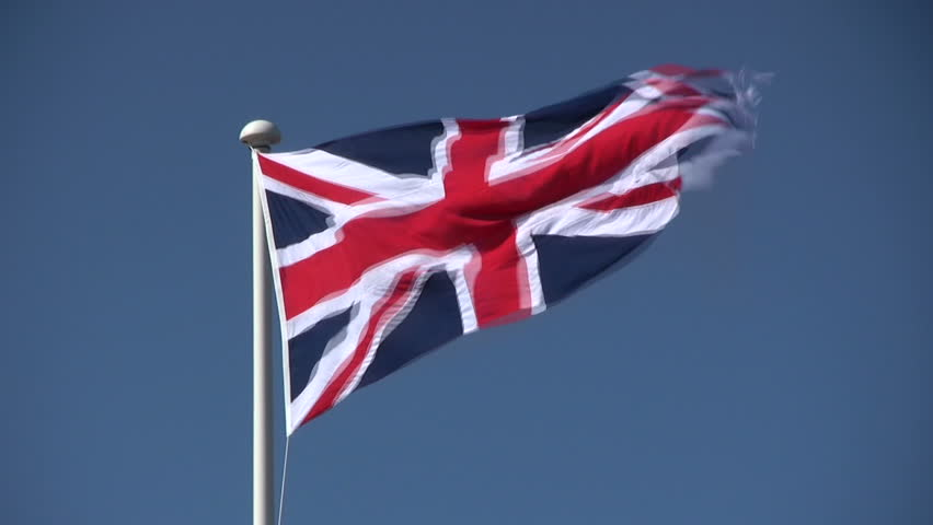 The British Union Jack flag blowing in the wind.