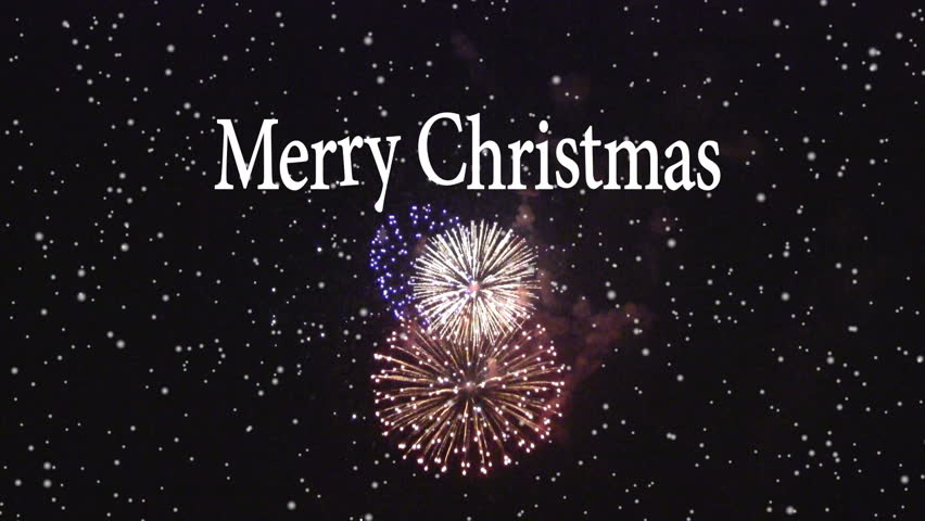 Hd0008Animated Merry Christmas Text With Fireworks Display In The Background